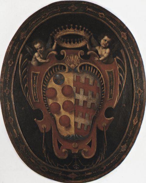 Anonimo , Stemma della famiglia Medici-Tornaquinci - Sc. Fiorentina, inizi sec. XVII - insieme
