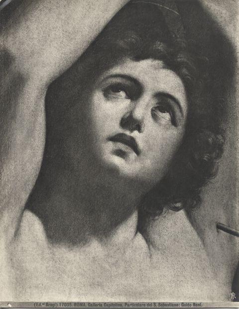 Brogi , Roma. Galleria Capitolina. Particolare del S. Sebastiano; Guido Reni - particolare, volto di san Sebastiano