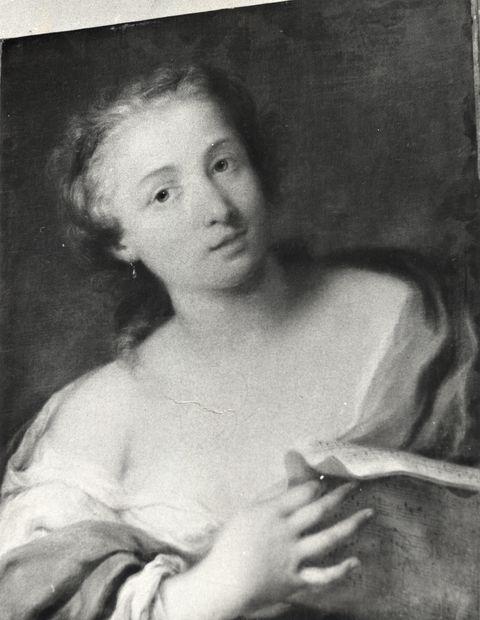 Anonimo , Anonimo veneziano - sec. XVIII - Giovane donna con spartito musicale - insieme