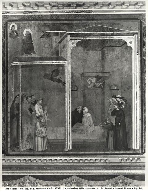 Bencini, Giulio ; Sansoni, Mario , Assisi - Ch. Sup. di S. Francesco - Affr. XXVII. La confessione della resuscitata - insieme
