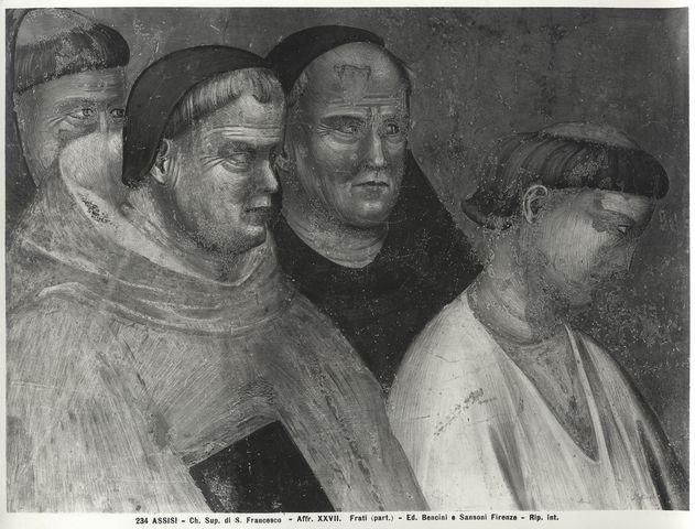 Bencini, Giulio ; Sansoni, Mario , Assisi - Ch. Sup. di S. Francesco - Affr. XXVII. Frati (part.) - particolare