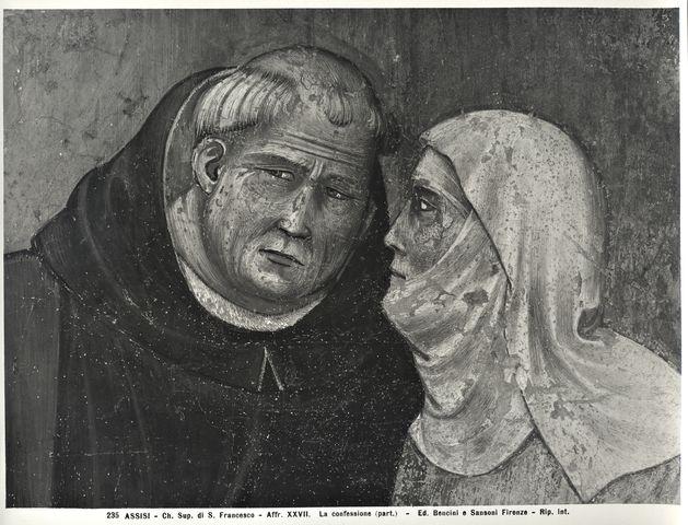 Bencini, Giulio ; Sansoni, Mario , Assisi - Ch. Sup. di S. Francesco - Affr. XXVII. La confessione (part.) - particolare