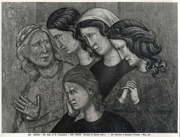 Bencini, Giulio ; Sansoni, Mario , Assisi - Ch. Sup. di S. Francesco - Affr. XXVII. Gruppo di donne (part.) - particolare