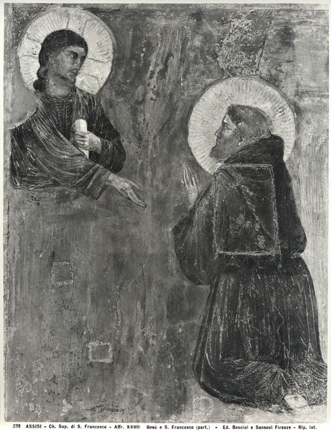 Bencini, Giulio ; Sansoni, Mario , Assisi - Ch. Sup. di S. Francesco - Affr. XXVII. Ges� e S. Francesco (part.) - particolare