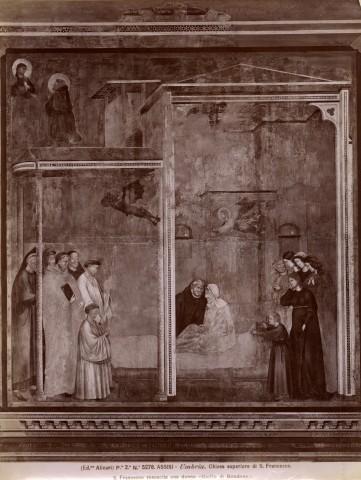 Alinari, Fratelli , Assisi - Umbria. Chiesa superiore di S. Francesco. S. Francesco resuscita una donna. (Giotto di Bondone.) - insieme